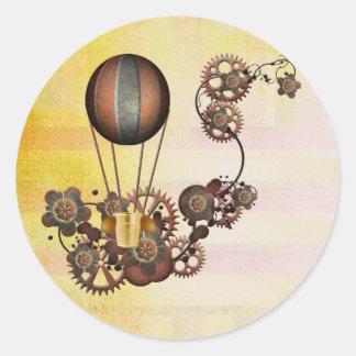 Steampunk Balloon Antique Yellow Classic Round Sticker