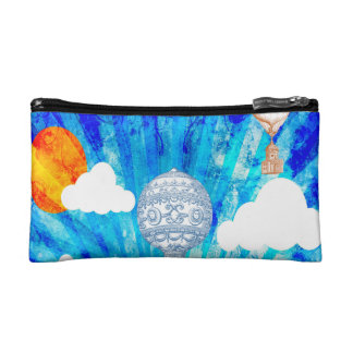 STEAMPUNK BALLOONS ON BLUE SKY COSMETIC BAG