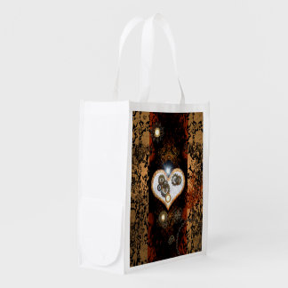 Steampunk, beautiful heart with gears and clocks grocery bags