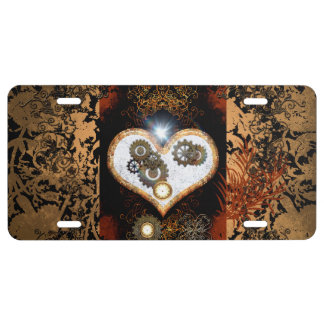 Steampunk, beautiful heart with gears and clocks license plate