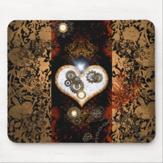 Steampunk, beautiful heart with gears and clocks mouse pad