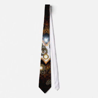 Steampunk, beautiful heart with gears and clocks neck tie