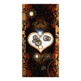 Steampunk, beautiful heart with gears and clocks photo card