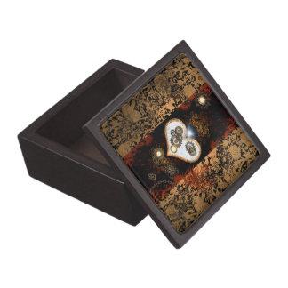 Steampunk, beautiful heart with gears and clocks premium keepsake box