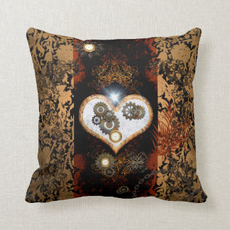 Steampunk, beautiful heart with gears and clocks throw pillow