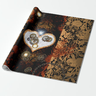 Steampunk, beautiful heart with gears and clocks wrapping paper