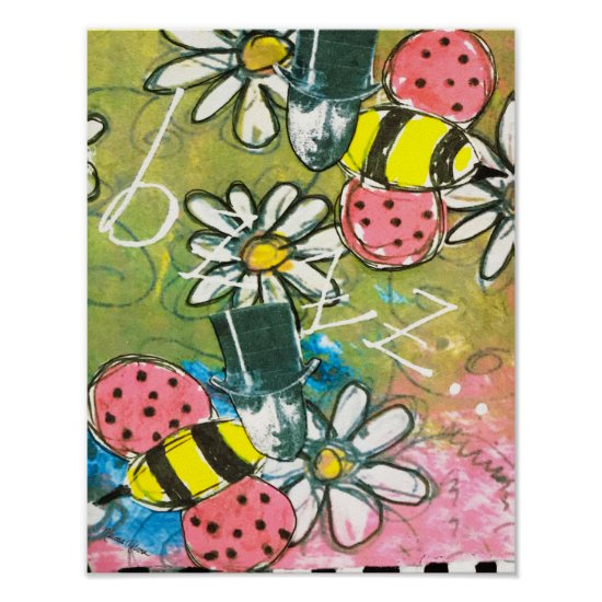 Steampunk Bee in Top Hat Flowers Whimsical Stripes Poster