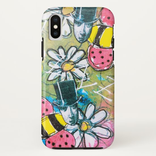 Steampunk Bee Top Hat Flowers Abstract Colorful iPhone XS Case