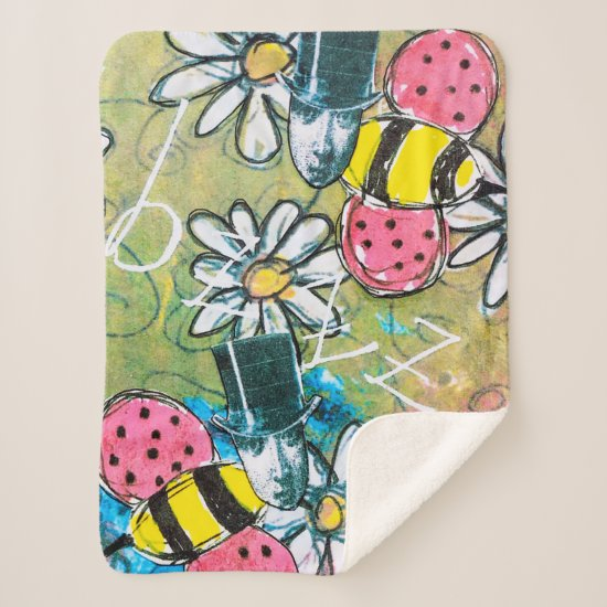 Steampunk Bee Top Hat Flowers Whimsical Colorful Sherpa Blanket