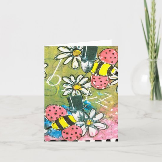 Steampunk Bees Daisies Colorful Whimsical Art Note Card