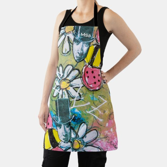 Steampunk Bees Daisies Flowers Initials Fun Craft Apron
