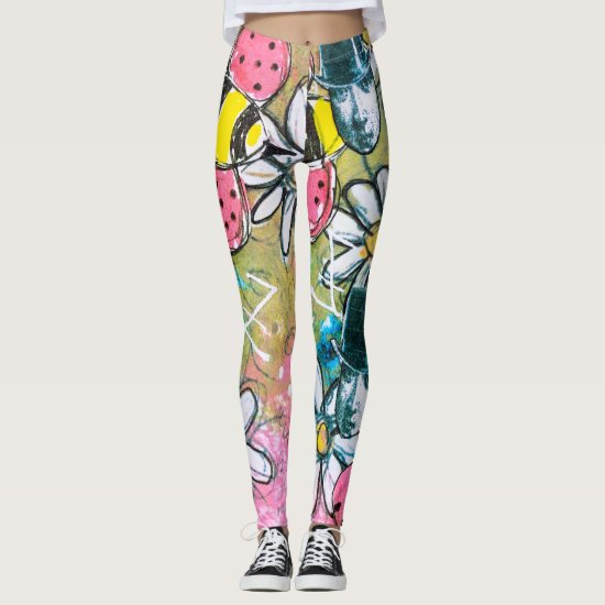 Steampunk Bees Daisies Fun Colorful Whimsical Art Leggings