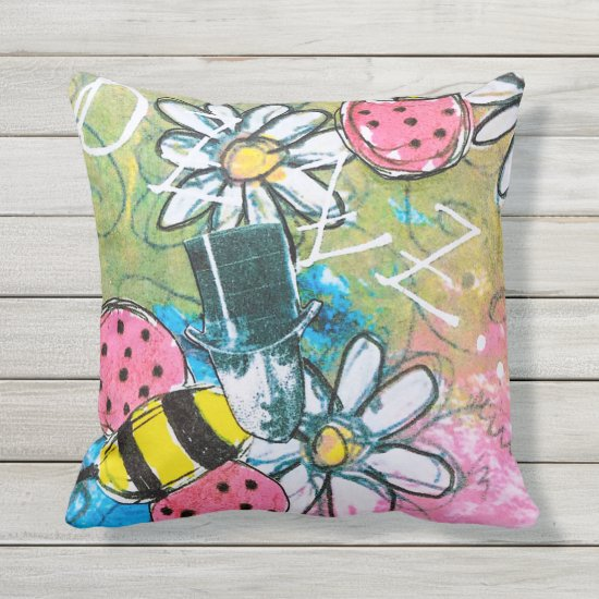 Steampunk Bees Daisies Fun Colorful Whimsical Art Outdoor Pillow