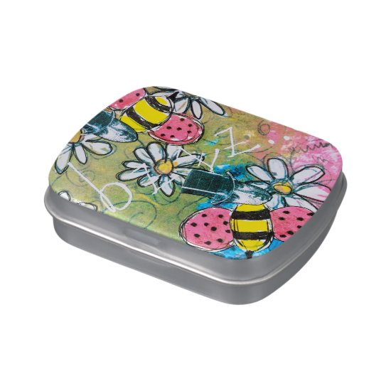 Steampunk Bees Daisies Pink Green Yellow Whimsical Candy Tin