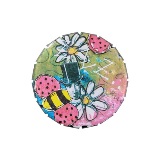 Steampunk Bees Daisies Whimsical Pink Green Yellow Candy Tin