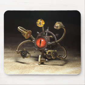 Steampunk Beholder Robot by Artist Daniel Proulx Mouse Pads