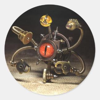 Steampunk Beholder Robot Classic Round Sticker