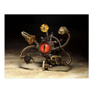 Steampunk Beholder Robot Postcard