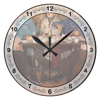 Steampunk - Bionic three having tea 1917 Large Clock