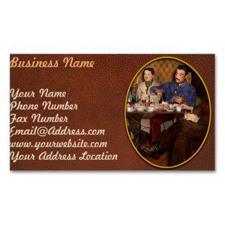 Steampunk - Bionic three having tea 1917 Magnetic Business Card