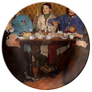 Steampunk - Bionic three having tea 1917 Porcelain Plate