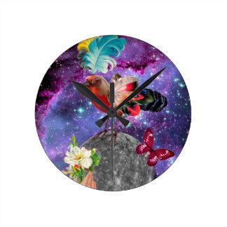 Steampunk Bird Round Clock