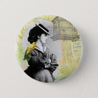 Steampunk Birdcage Victorian Lady Canary Button
