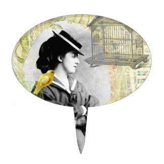 Steampunk Birdcage Victorian Lady Canary Cake Topper