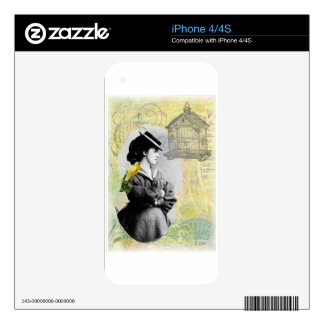 Steampunk Birdcage Victorian Lady Canary iPhone 4S Skin