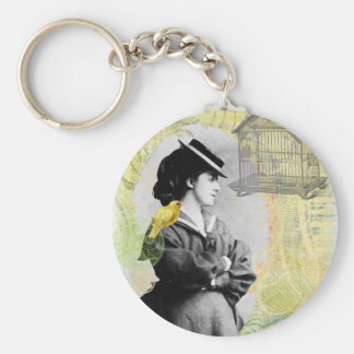 Steampunk Birdcage Victorian Lady Canary Keychain