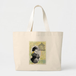 Steampunk Birdcage Victorian Lady Canary Large Tote Bag