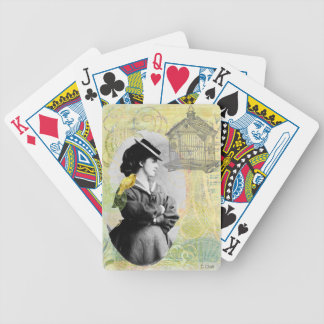Steampunk Birdcage Victorian Lady Canary Bicycle Playing Cards