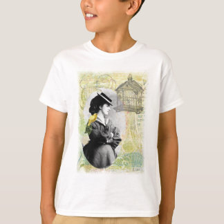 Steampunk Birdcage Victorian Lady Canary T-Shirt