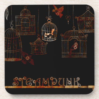 STEAMPUNK BIRDS AND RUSTED CAGES BEVERAGE COASTER