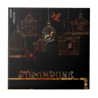 STEAMPUNK BIRDS AND RUSTED CAGES CERAMIC TILE