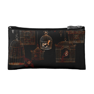 STEAMPUNK BIRDS AND RUSTED CAGES COSMETIC BAG