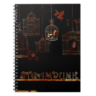 STEAMPUNK BIRDS AND RUSTED CAGES NOTEBOOKS