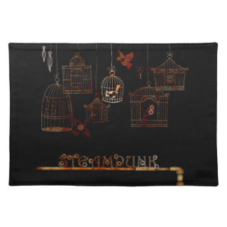 STEAMPUNK BIRDS AND RUSTED CAGES CLOTH PLACE MAT