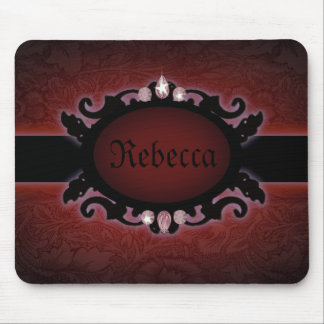 steampunk black and red gothic monogram mouse pad