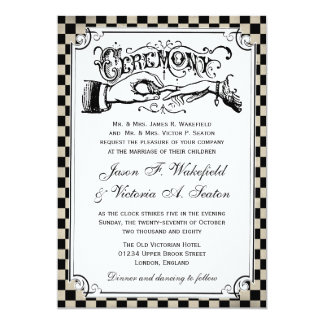 Steampunk Black Checkerboard Wedding Invites