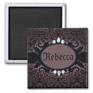 Steampunk Black lilac Damask Gothic monogram Magnet