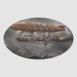 Steampunk - Blimp - Airship Maximus Oval Sticker