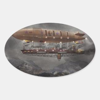 Steampunk - Blimp - Airship Maximus Oval Sticker