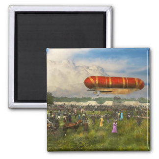 Steampunk - Blimp - Launching Nulli Secundus II 2 Inch Square Magnet