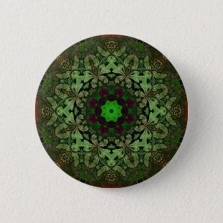 Steampunk Bohemian Hippy chic forest green mandala Pinback Button