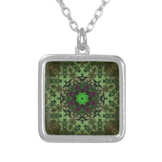 Steampunk Bohemian Hippy chic forest green mandala Silver Plated Necklace