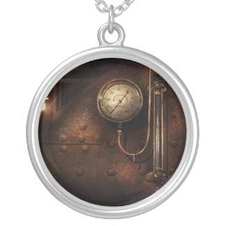 Steampunk - Boiler Gauge Silver Plated Necklace