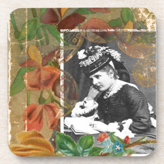 Steampunk Book Victorian Lady Vintage Photo Beverage Coaster