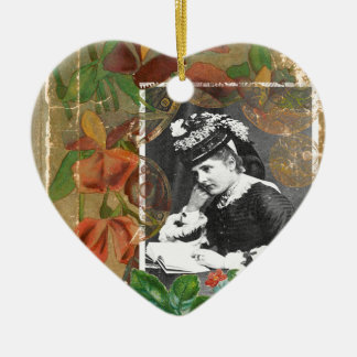 Steampunk Book Victorian Lady Vintage Photo Ceramic Ornament