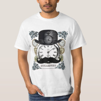 Steampunk - bowler, moustache and watches collage T-Shirt